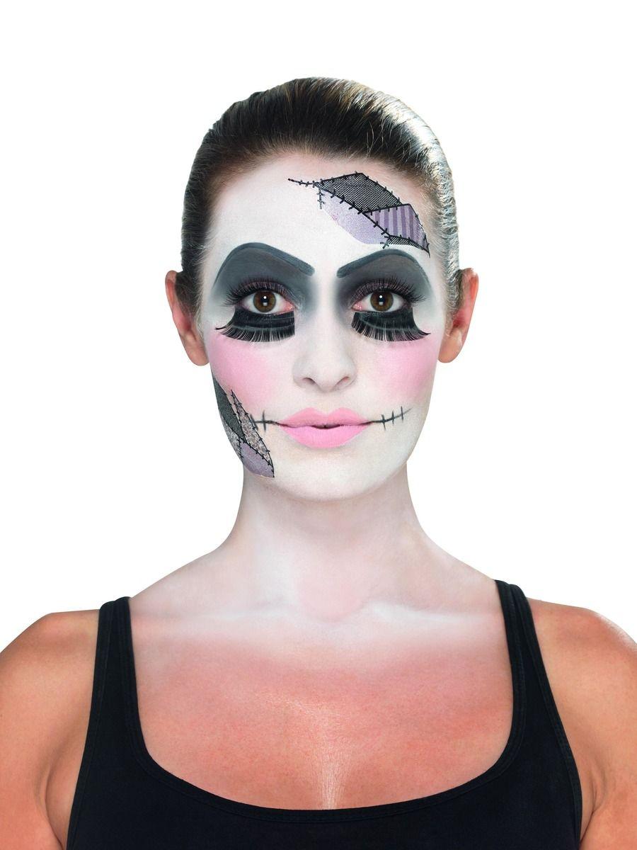 MAKEUP/MAKE-UP KITS/Smiffys Make-Up FX, Damaged Doll Kit, Aqua, Black