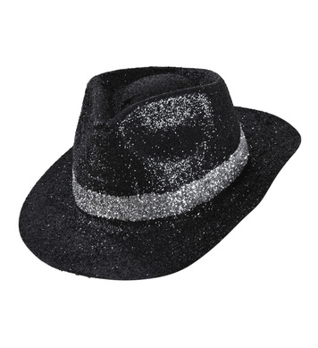 ACCESSORIES/HATS & HEADBANDS/BLACK GLITTER FEDORA/JACKO