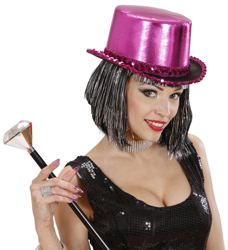 ACCESSORIES/HATS & HEADBANDS/TOP HAT PINK LAME WITH SEQUIN TRIM