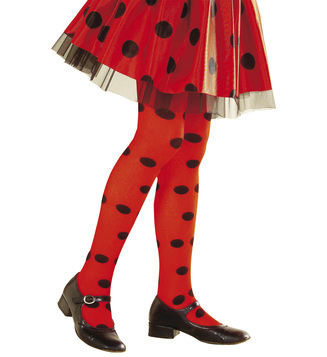GIRLS/TIGHTS/LADYBUG PANTYHOSE - RED/BLACK SPOT Childrens