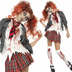 WOMAN/HALLOWEEN/High School Horror Zombie Schoolgirl Costume, Grey