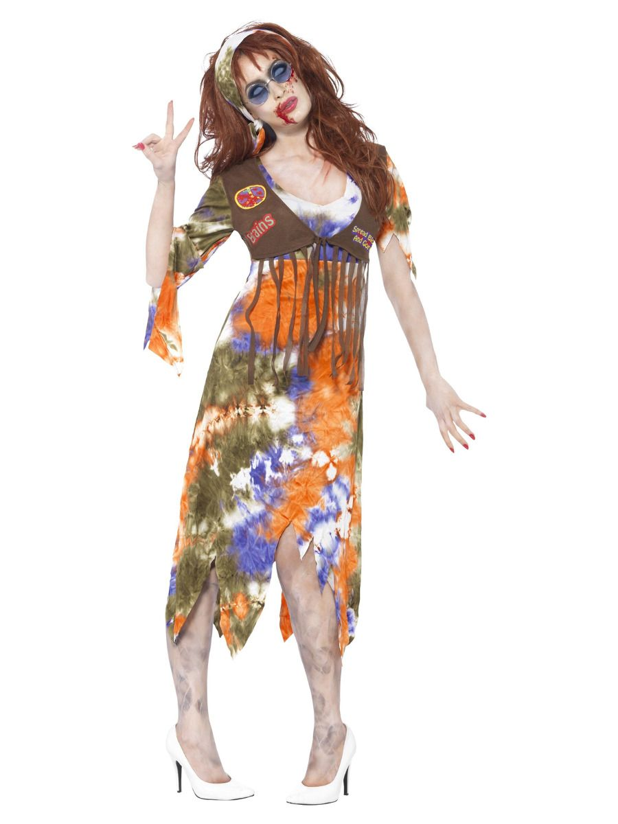 WOMAN/HALLOWEEN/ Zombie 60s Hippie Lady Costume, Multi-Coloured