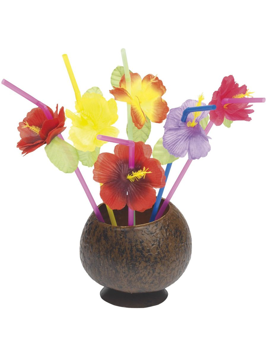 ACCESSORIES/PROPS/Hawaiian Straws, Mixed, with Flowers, 12 Straws Per Pack