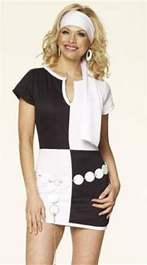 WOMAN/DECADES/1960'S/MOD CHICK DRESS BLACK & WHITE