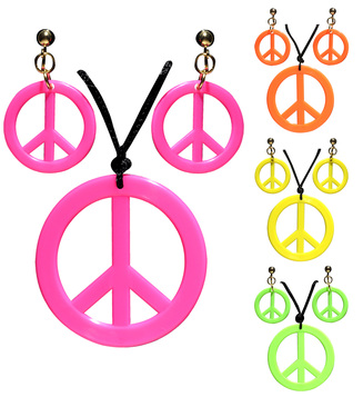 ACCESSORIES/JEWELLERY/HIPPIE NECKLACE/EARRINGS SET pink green yellow or orange