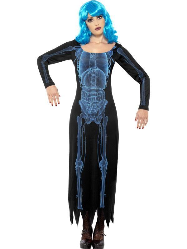 WOMAN/HALLOWEEN/Smiffy's Women's X Ray Costume, Tube Dress with Long Sleeves,