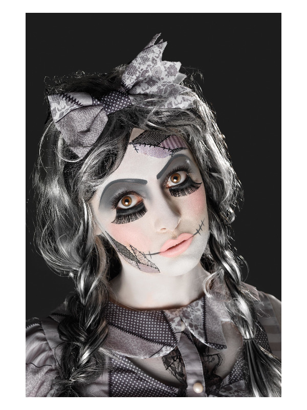 MAKEUP/MAKE-UP KITS/Smiffys Make-Up FX, Damaged Doll Kit, Aqua, Black