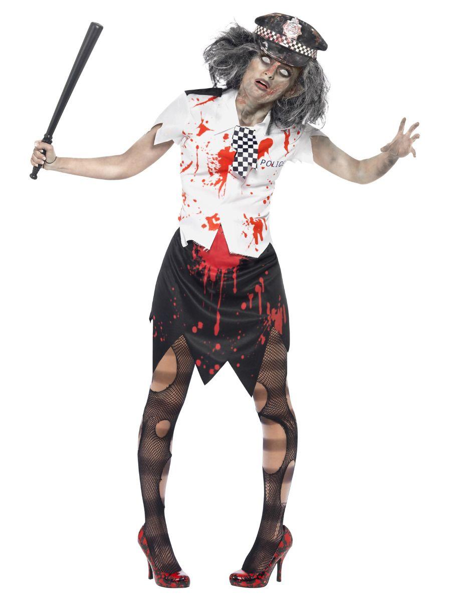 WOMAN/HALLOWEEN/ Zombie Policewoman Costume, Black & White