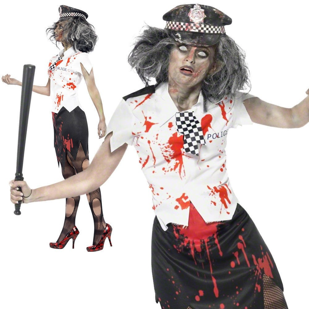 WOMAN/HALLOWEEN/ Zombie Policewoman Costume, Black & White
