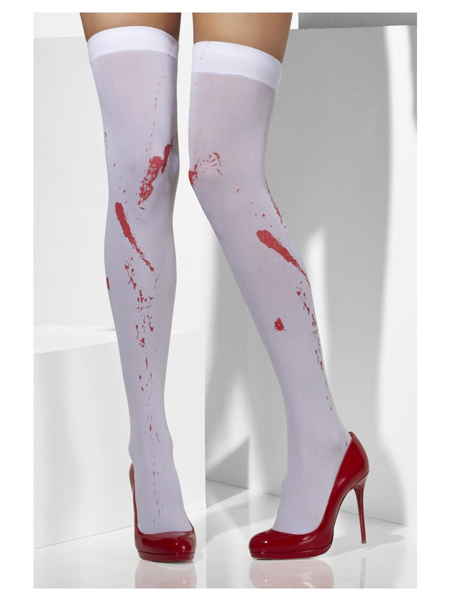 ACCESSORIES/HALLOWEEN/SOCKS/ Opaque Hold-Ups, White