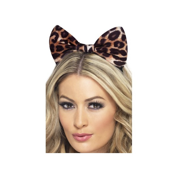 ACCESSORIES/HATS & HEADBANDS/Cheetah Bow on Headband, Brown & Black