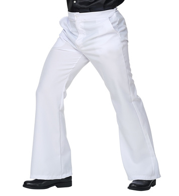 MENS/DECADES/1970S/70S GROOVY STYLE TROUSERS WHITE