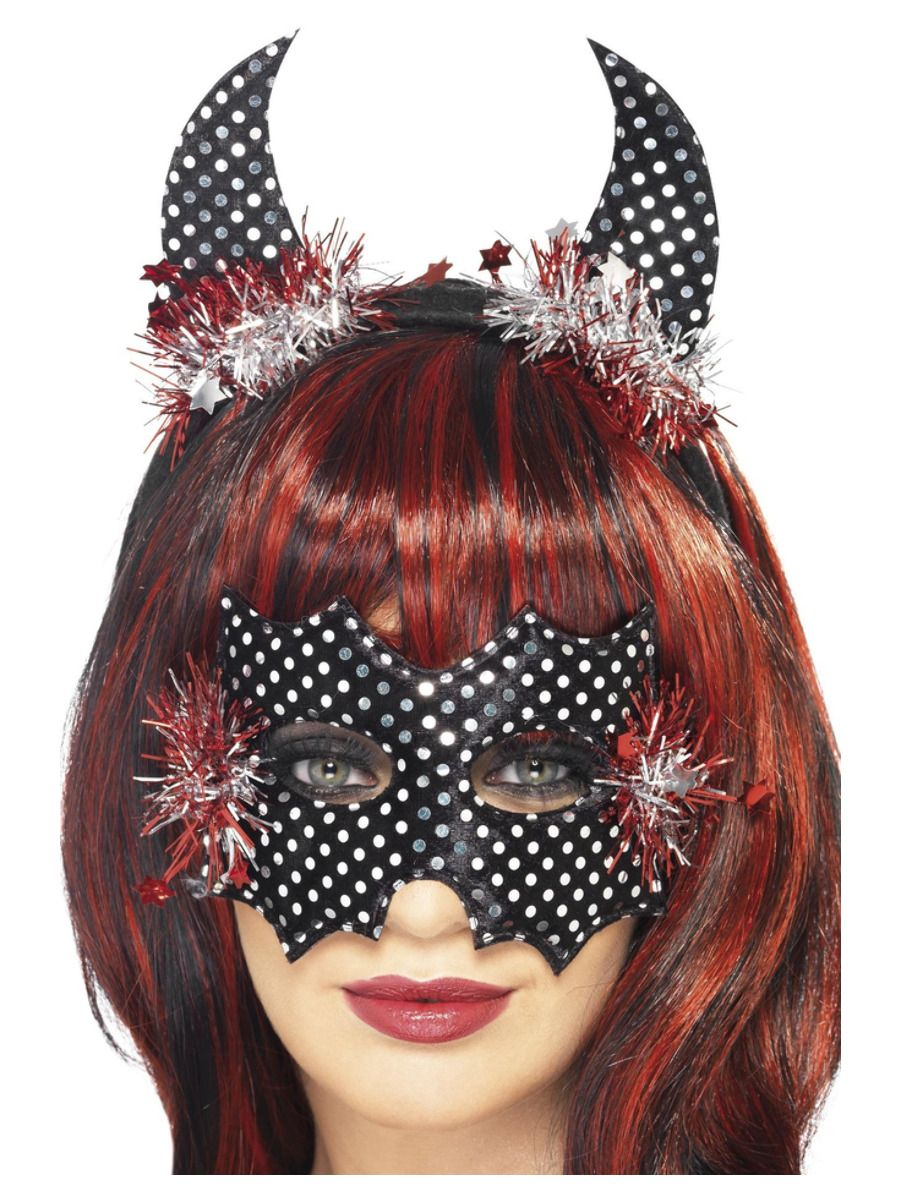 ACCESSORIES/HALLOWEEN/MASKS/Devildina Mask and Horns Set, Black & Silver