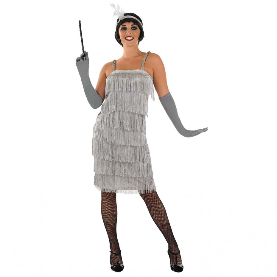 WOMAN/DECADES/1920'S/ WOMENS 20S SILVER FLAPPER DRESS COSTUME
