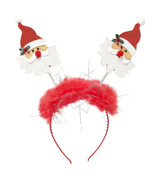 ACCESSORIES/HATS & HEADBANDS/SANTA CLAUS HEAD BOPPER WITH MARABOU & TINSEL