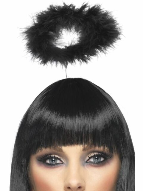 ACCESSORIES/HATS & HEADBANDS/Marabou Angels Halo, Black