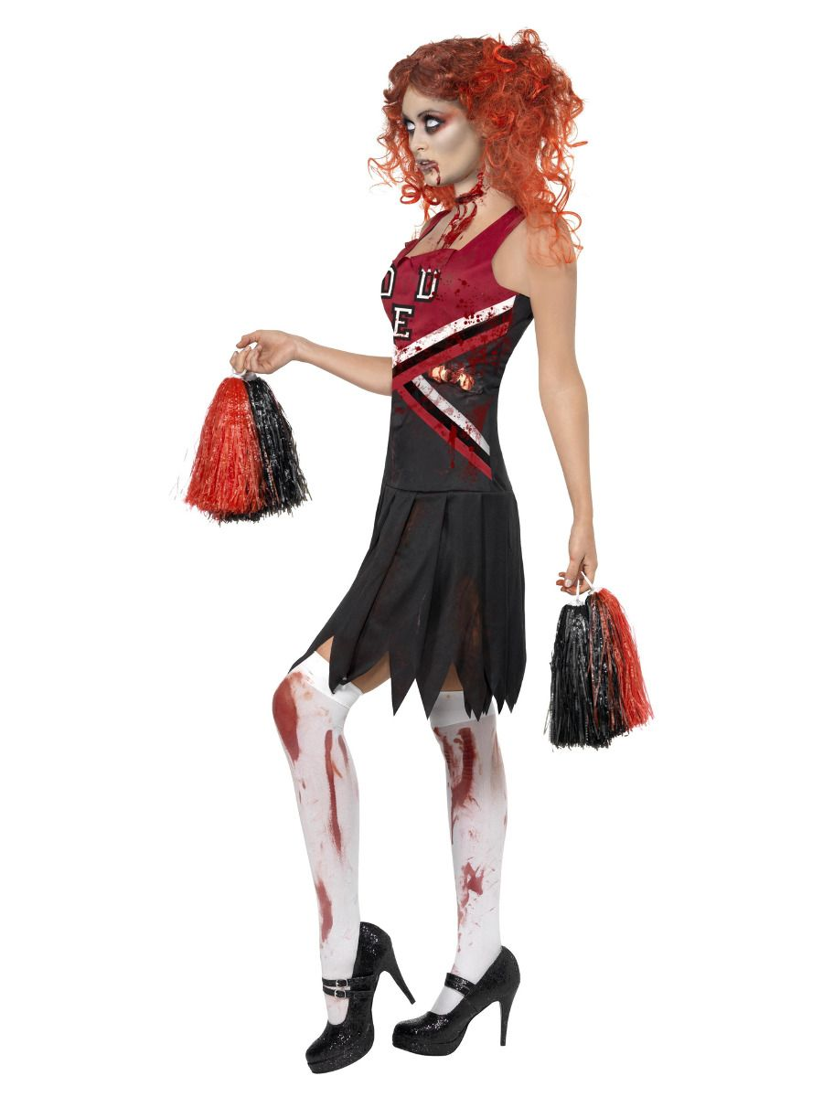 WOMAN/HALLOWEEN/High School Horror Cheerleader Costume, Red & Blac