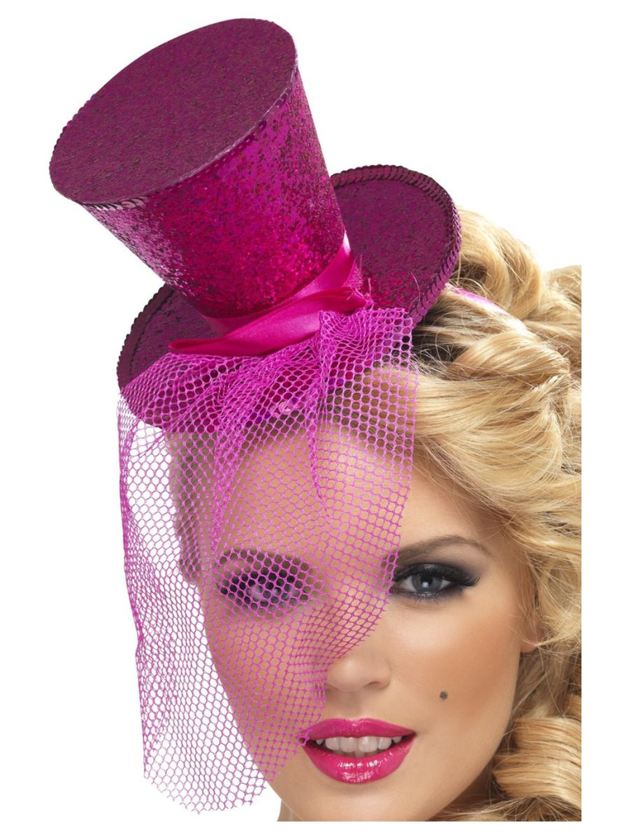 ACCESSORIES/HATS & HEADBANDS/Fever Mini Top Hat on Headband, Hot Pink