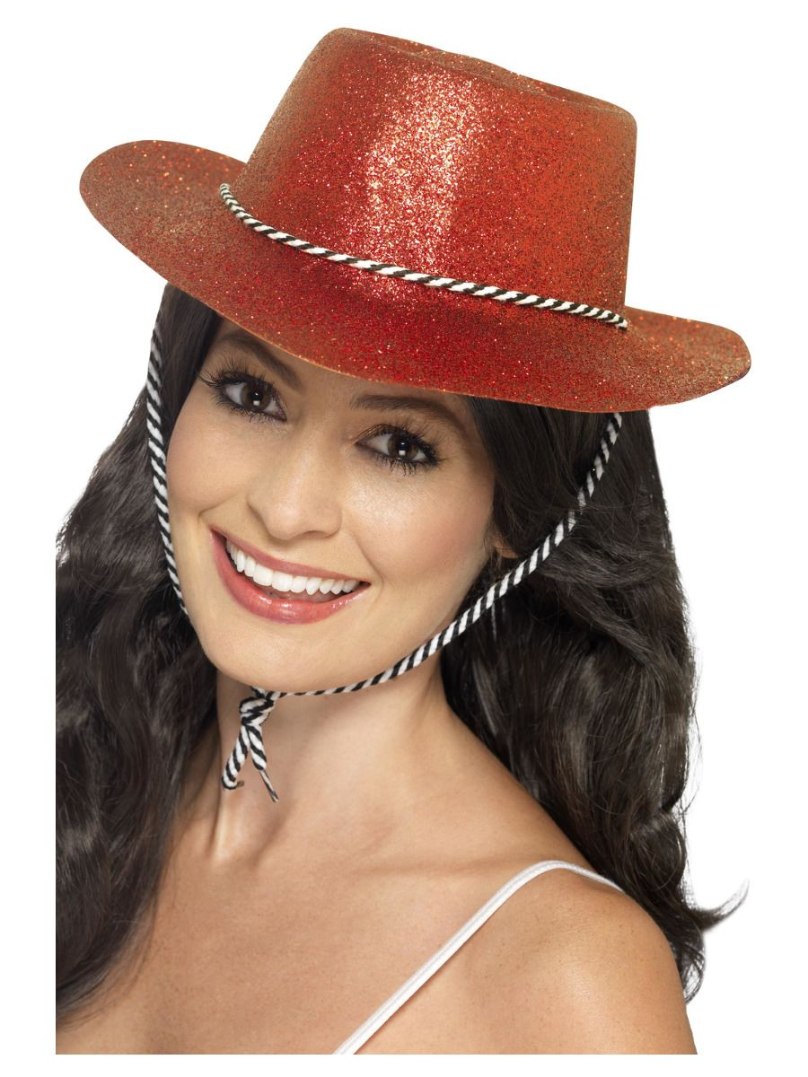 ACCESSORIES/HATS & HEADBANDS/ Cowboy Glitter Hat, Red