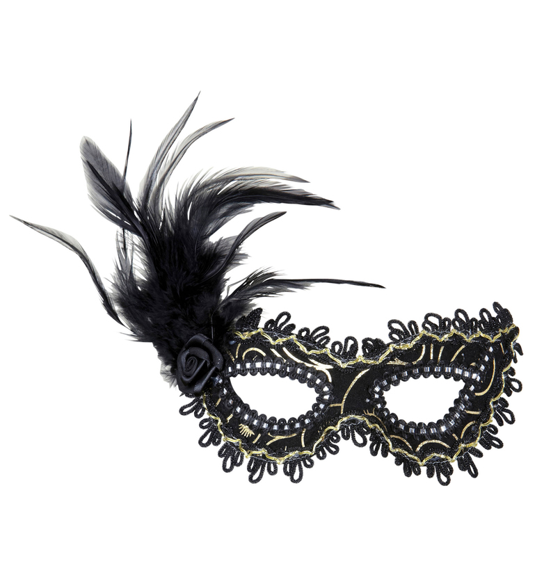 ACCESSORIES/EYEMASKS&MASQUERADE/BLACK EYEMASK WITH ROSE FEATHERS AND GOLD ACCENTS