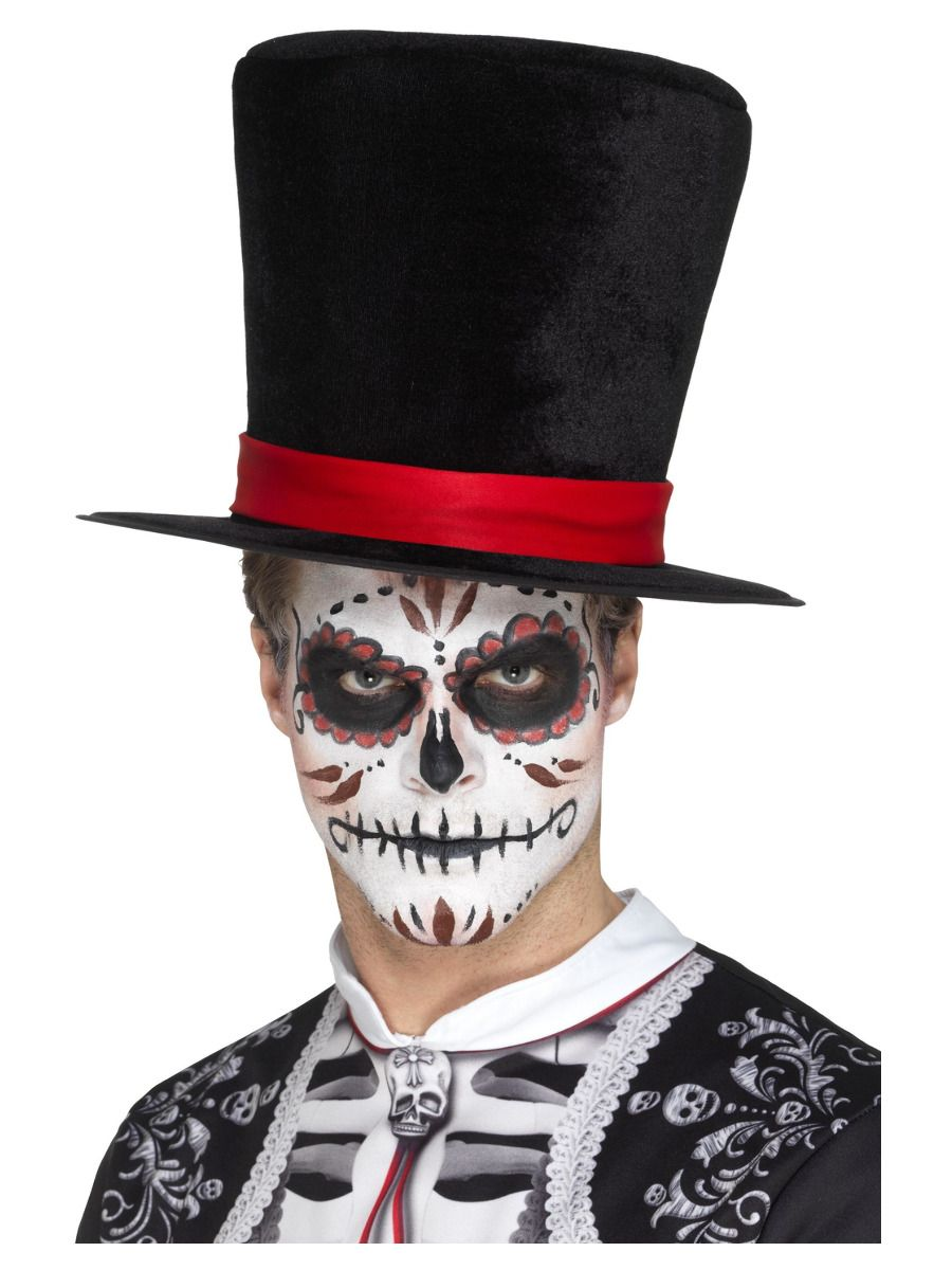 ACCESSORIES/HATS & HEADBANDS/Day of the Dead Top Hat, Black