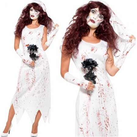 WOMAN/HALLOWEEN/ Zombie Bride Costume, White