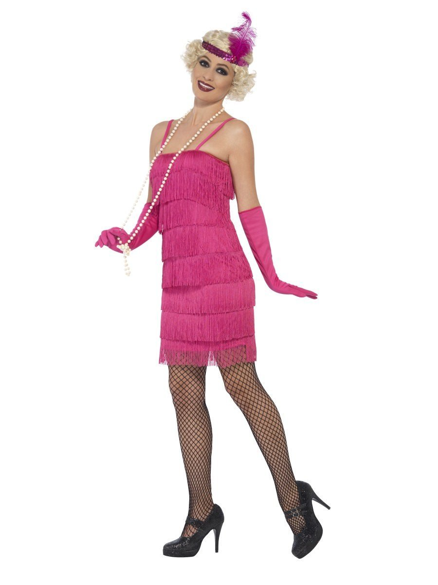 WOMAN/DECADES/1920'S/FLAPPER COSTUME, PINK, WITH SHORT DRESS