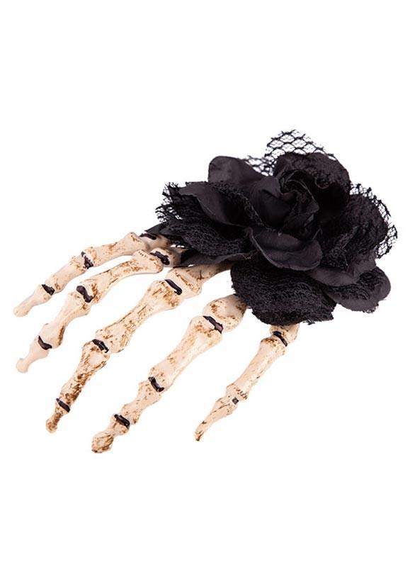 ACCESSORIES/HALLOWEEN/PROPS/ Skeleton Rose Hair Decoration