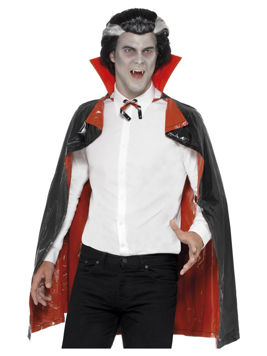 ACCESSORIES/CAPES/PVC Reversible Vampire Cape, Black & Red