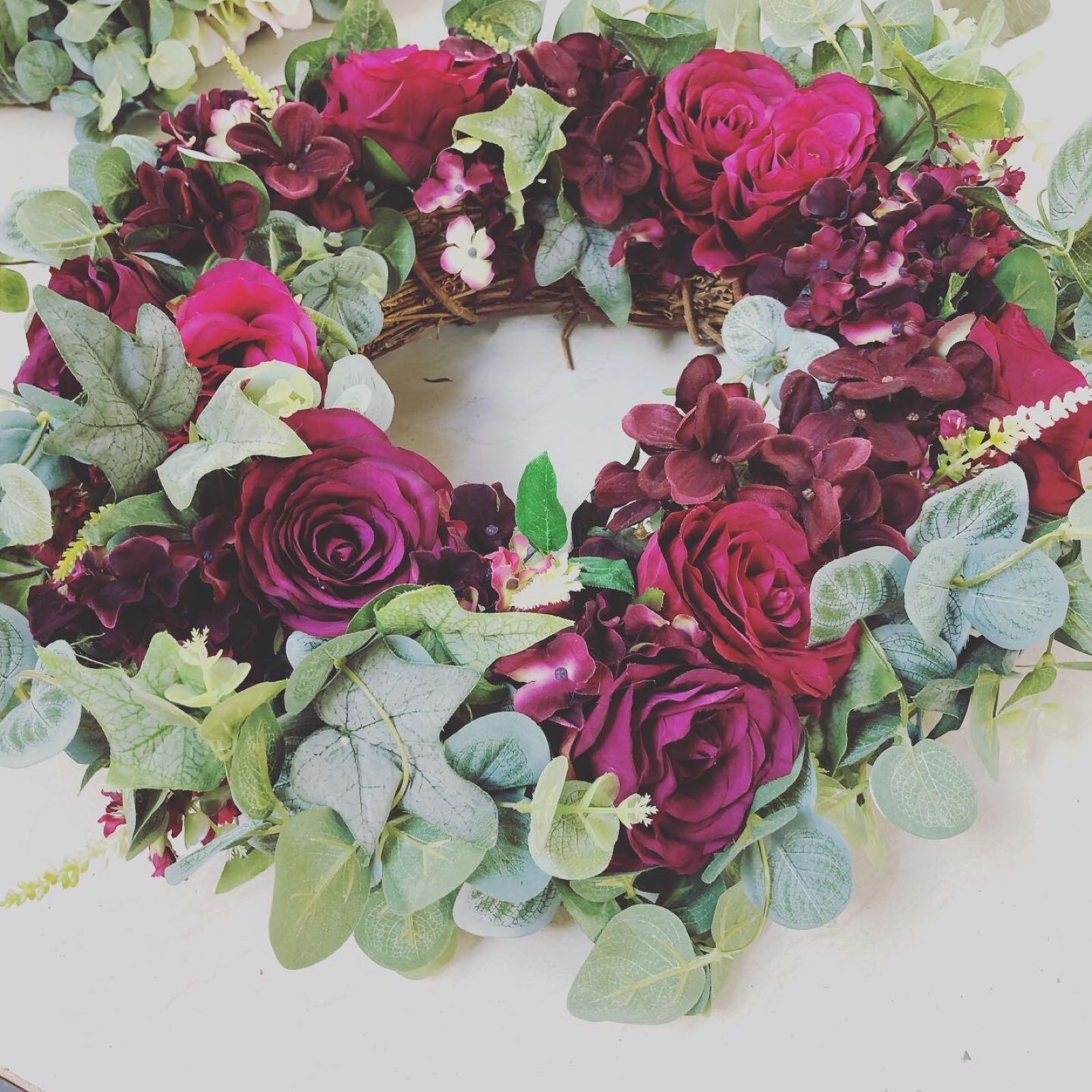 Petals and Peas Deep Red rose and Hydrangea Wreath 50cm approx