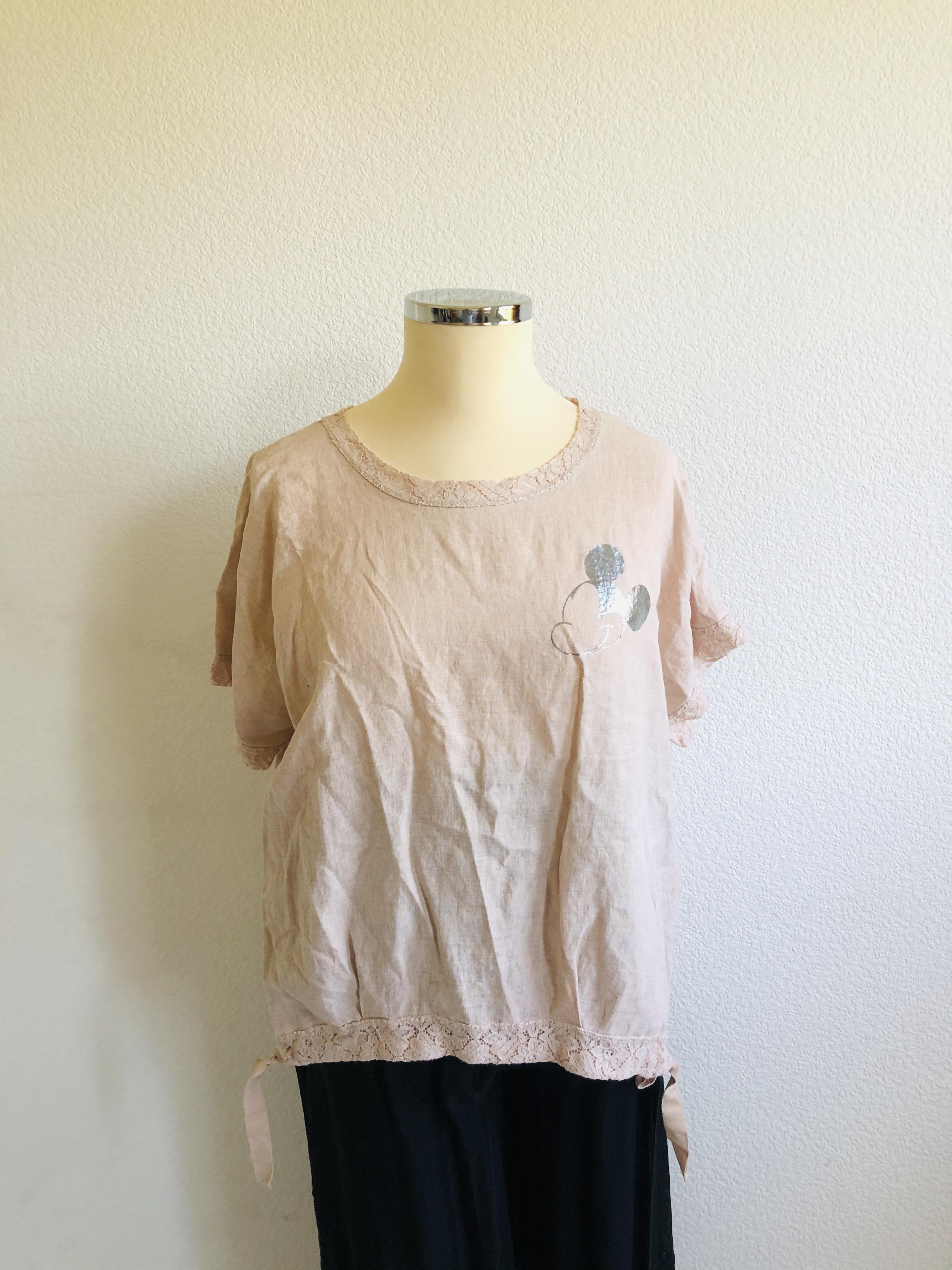 Shirt mit Spitze Leinen/BW rosa grau weiß bis Gr. L
