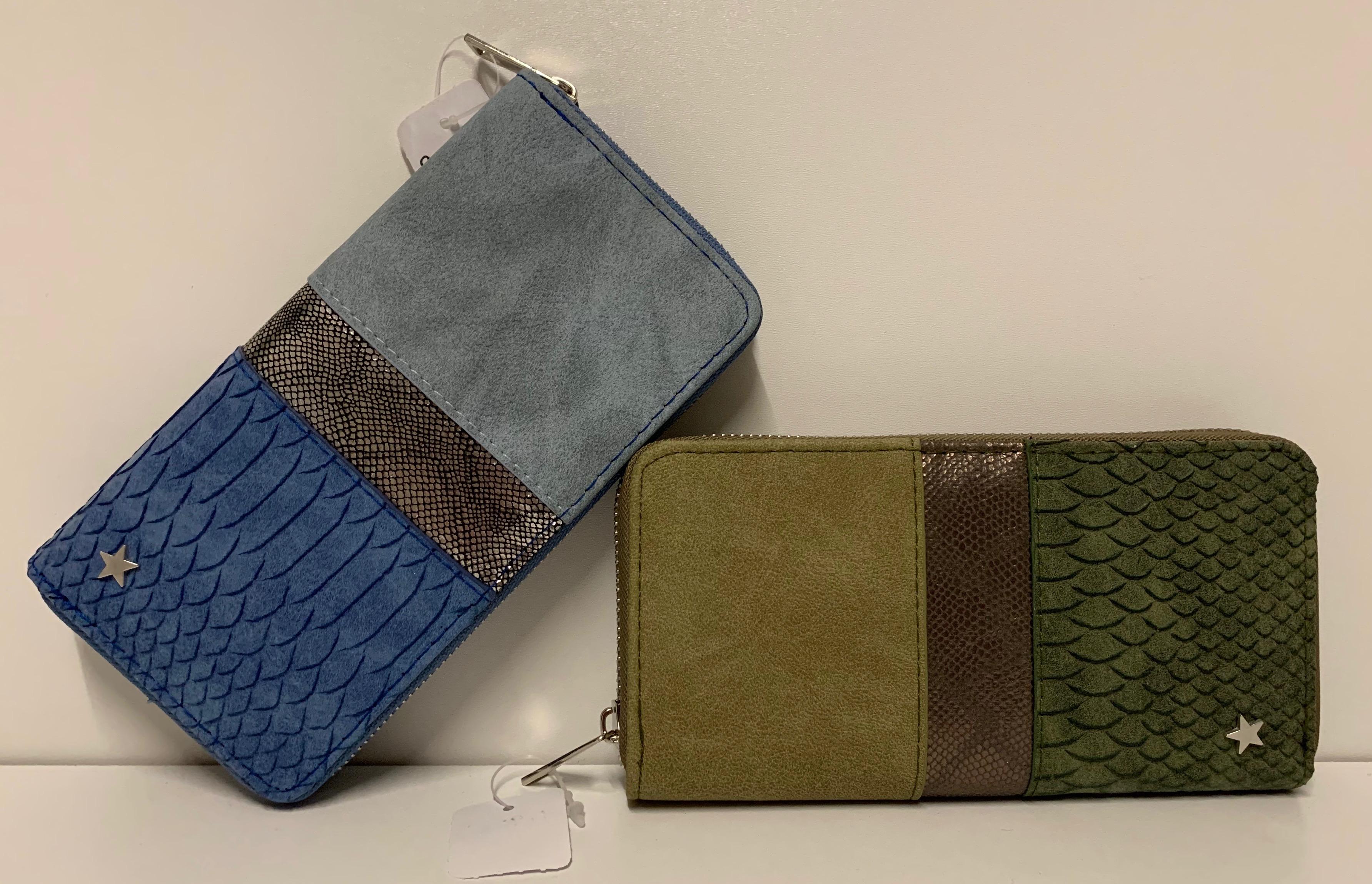 Damen Geldbörse im Materialmix in 2 Farben