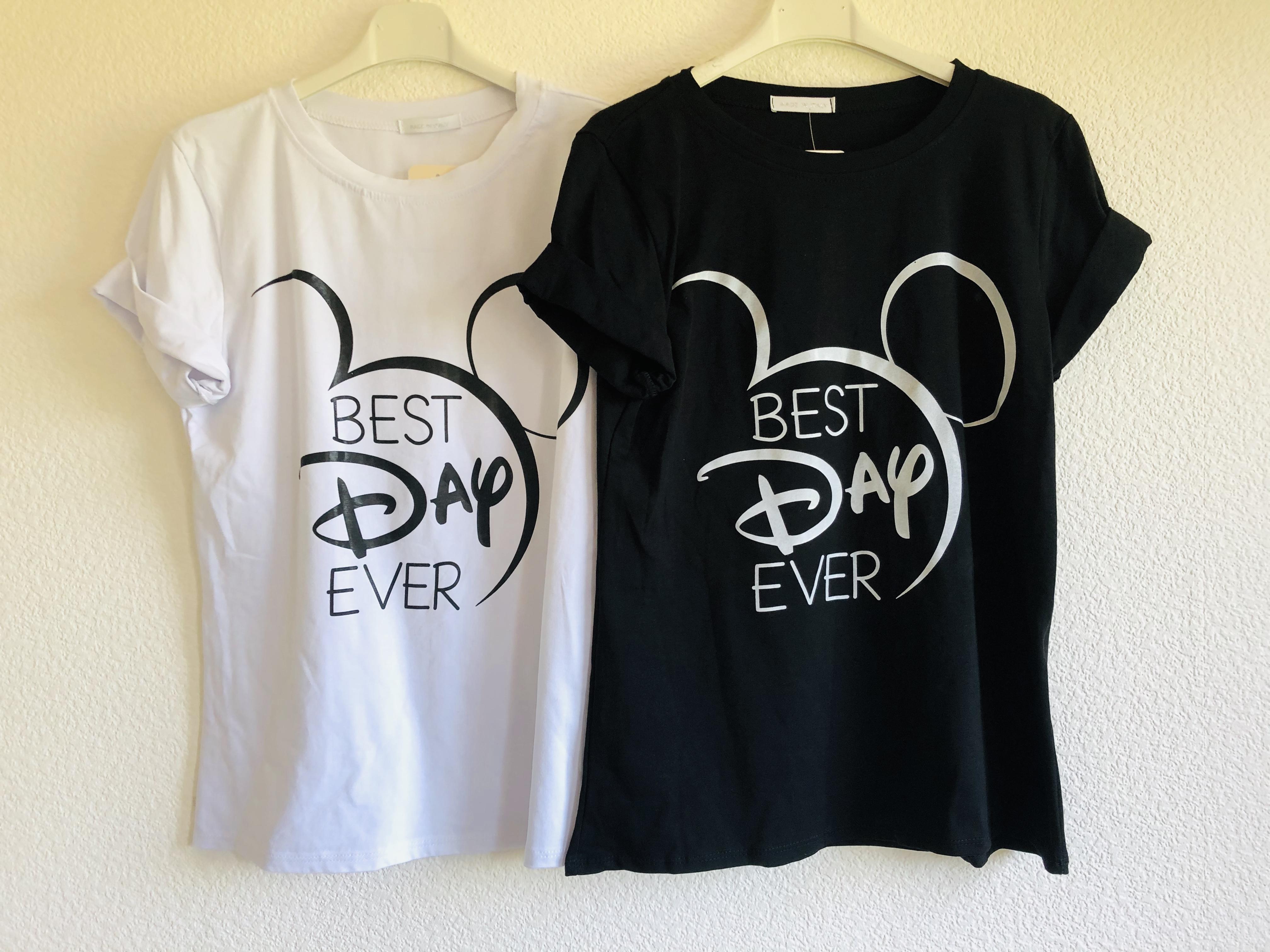T-Shirt Micky Maus Best Day Ever Gr. M schwarz weiß