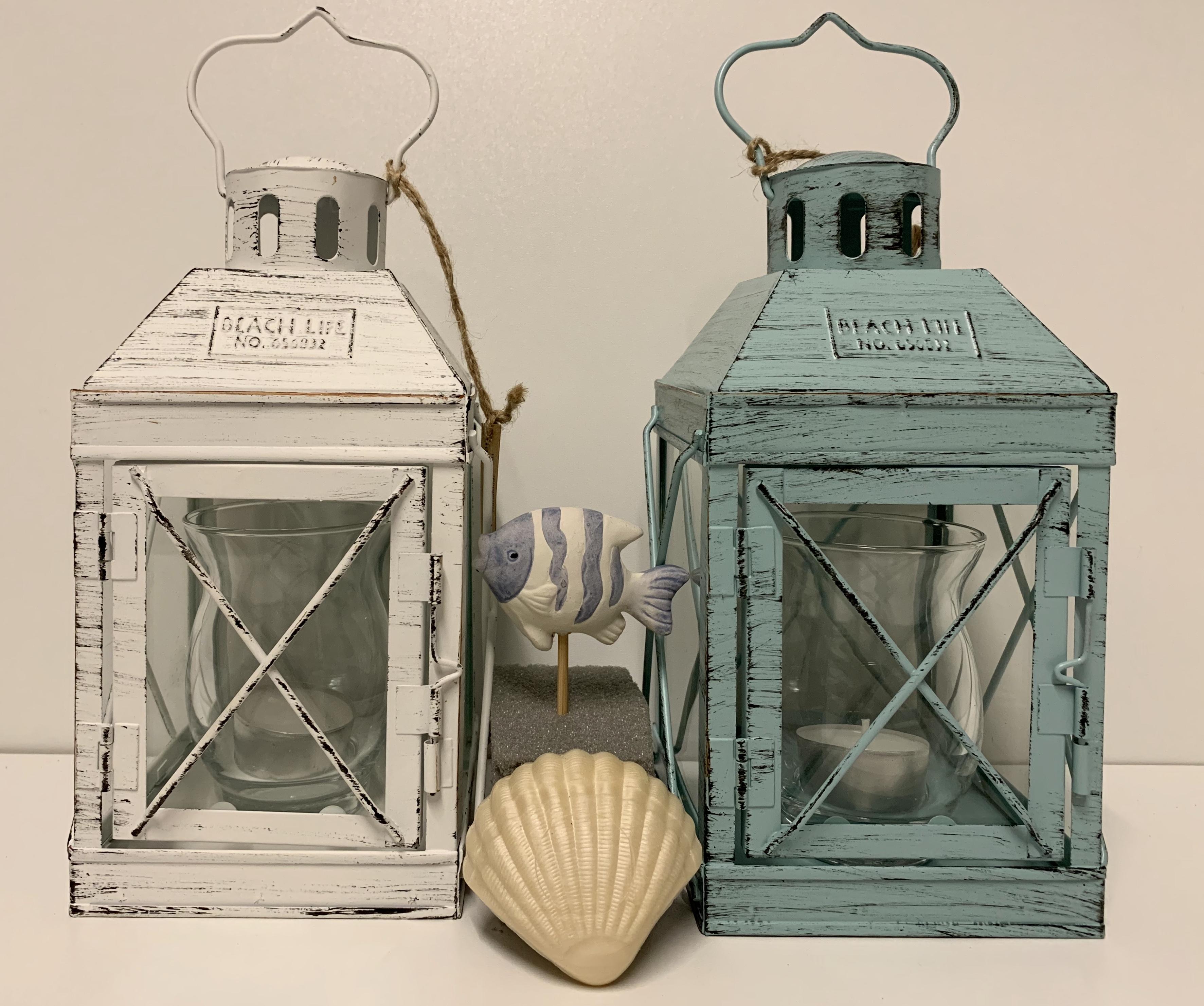 Laterne in weiß/blau aus Metall/Glas • H22 cm