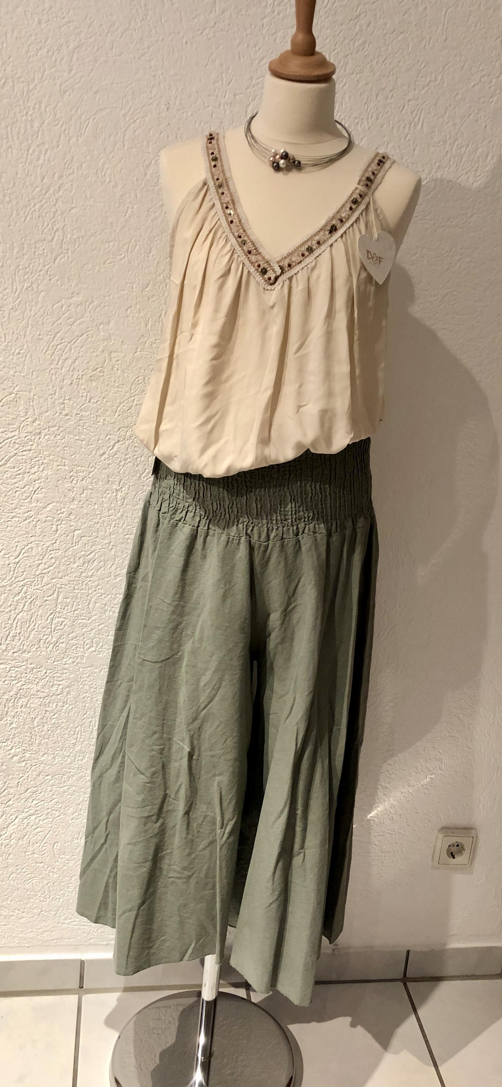 Leinen Hosenrock breiter Bund 4 Farben bis Größe 42