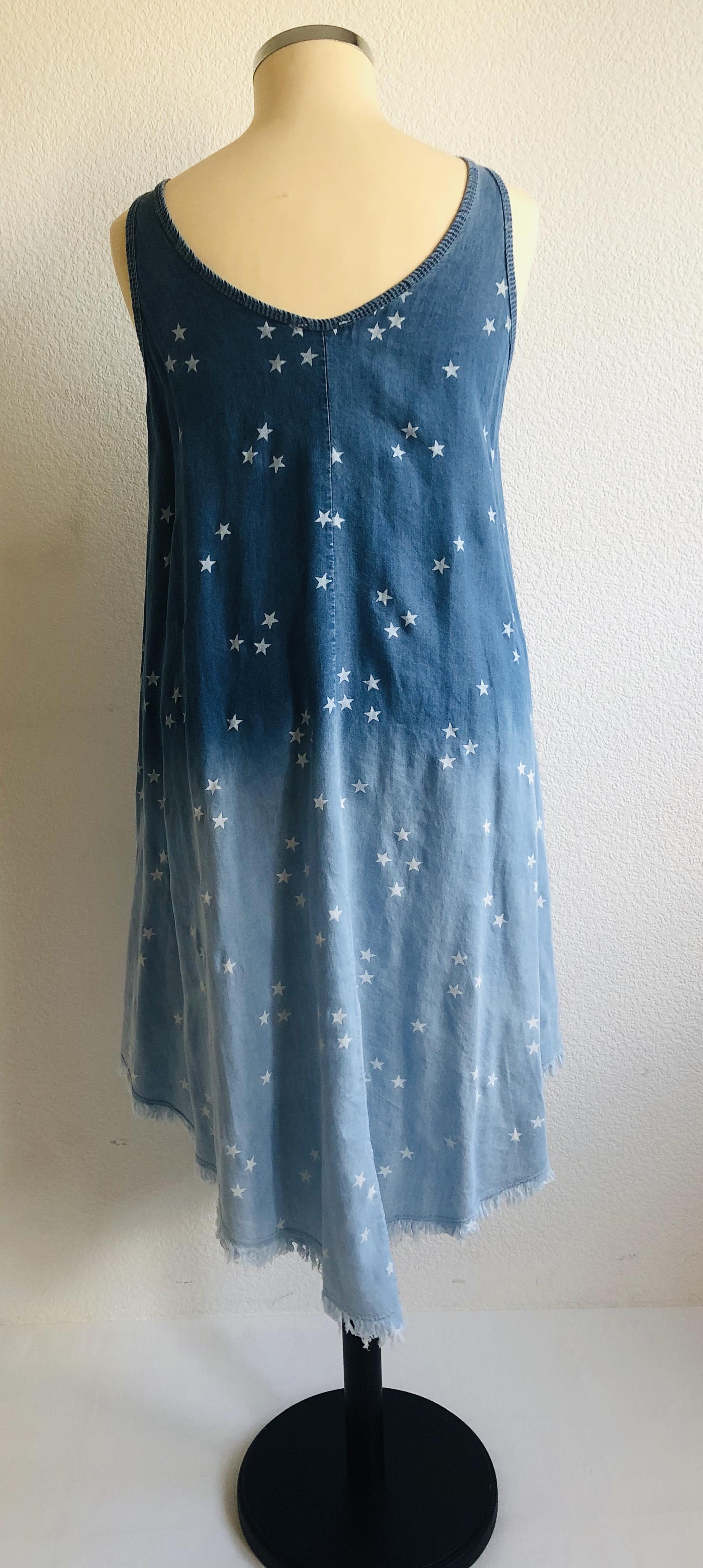 Jeanskleid mit Sternen • One Size bis Gr. 38/40 • 2 Farben