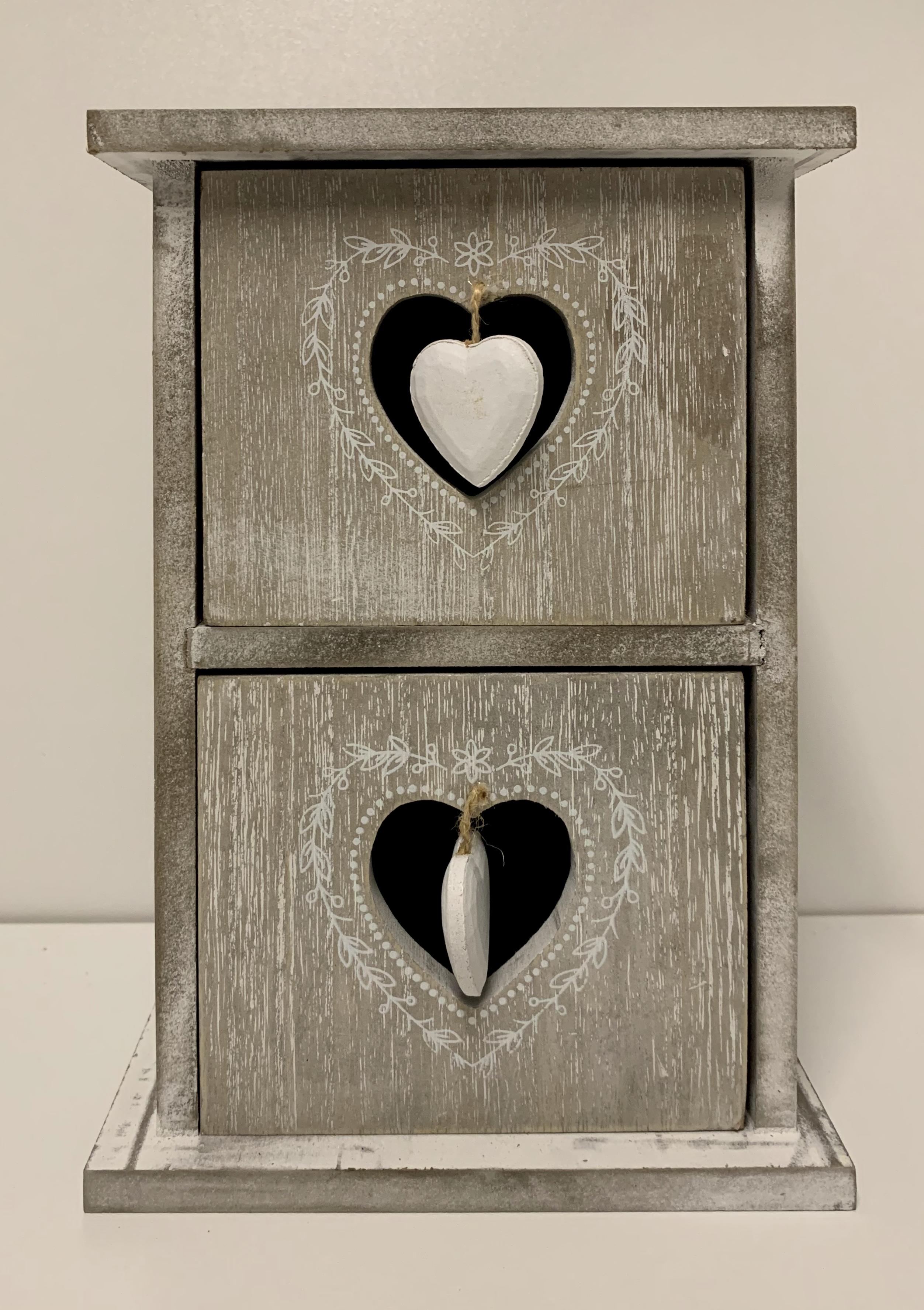 Kleines Holzschränkchen mit 2 Schubladen