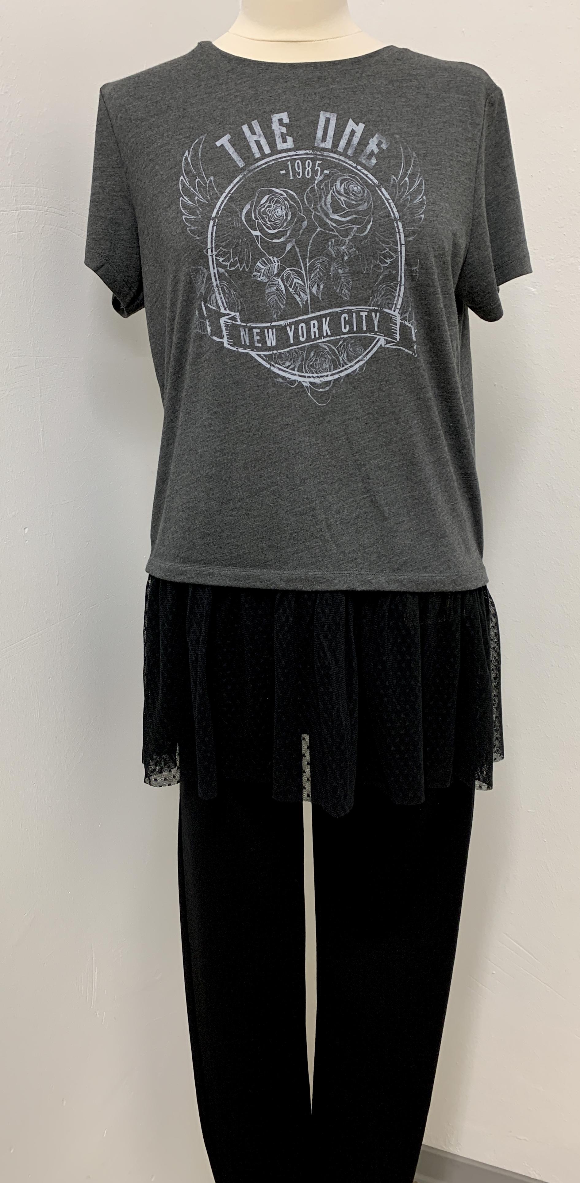 Haily's T-Shirt grau mit schwarzer Spitze