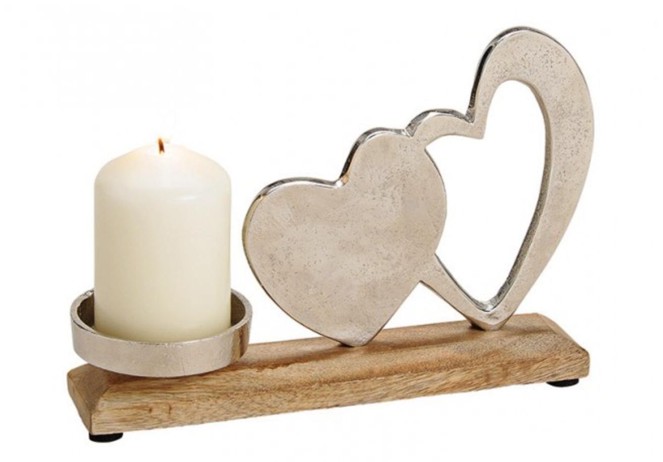 Kerzenhalter Herz Dekor Mango Holz