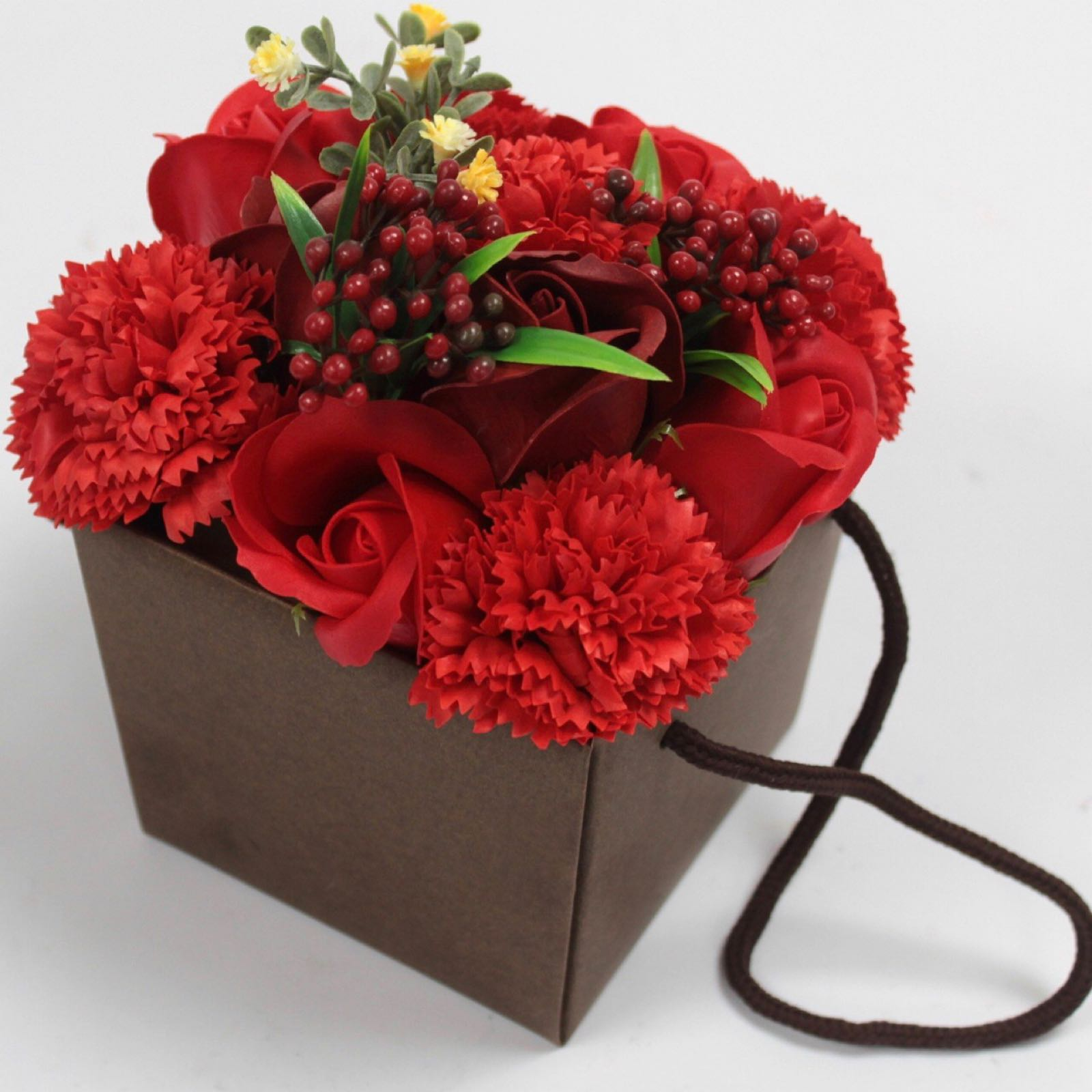 Soap Flower Bouquet - Red Rose & Carnation (Was £13.50)