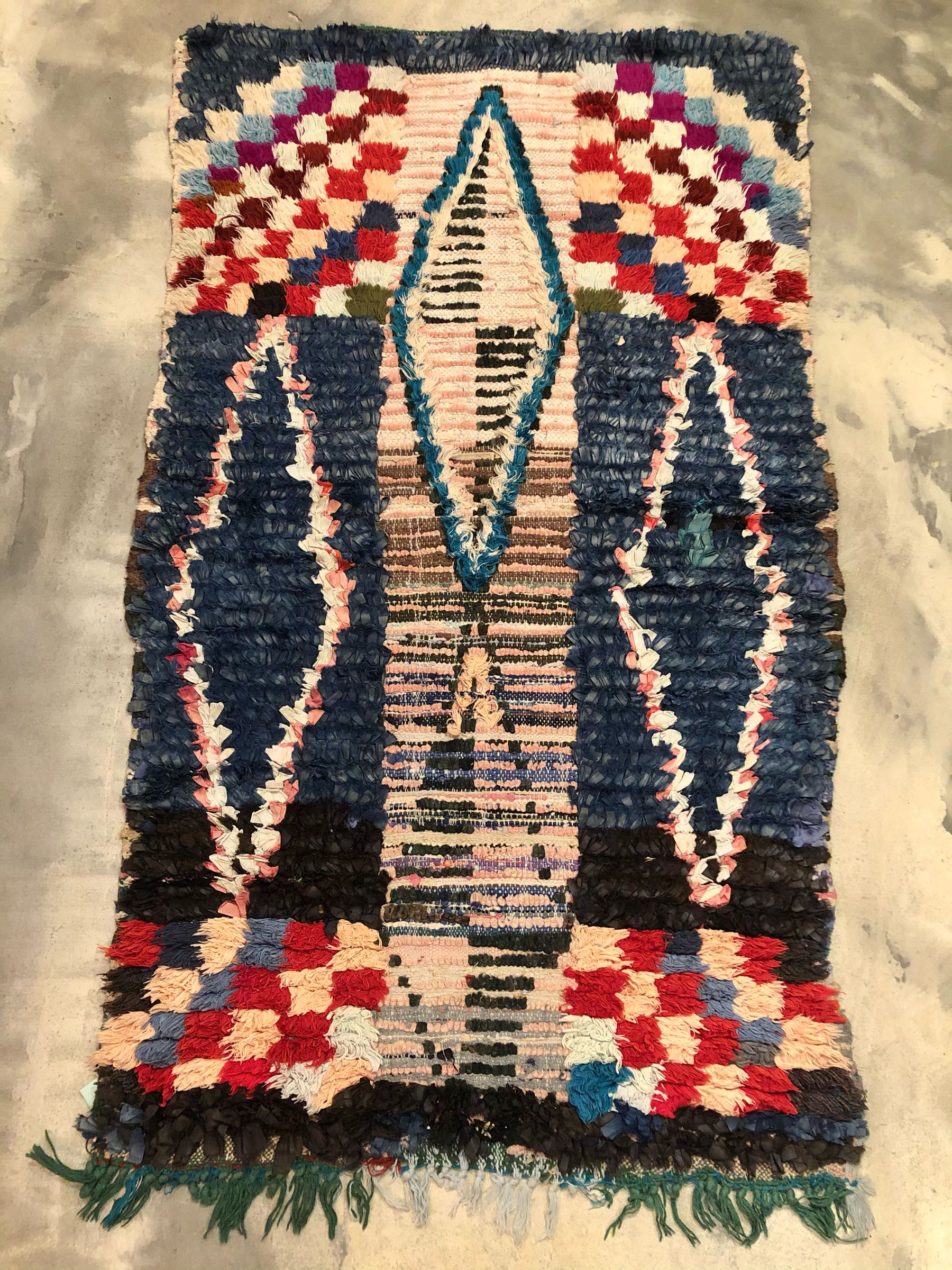 Boucherouite rug 80x140 cm navy