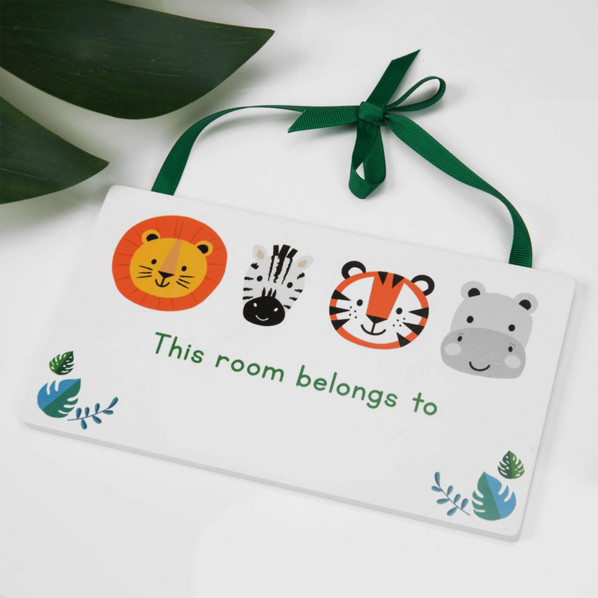Jungle Baby Rectangle Hanging  Room Plaque  - This Room Belongs to