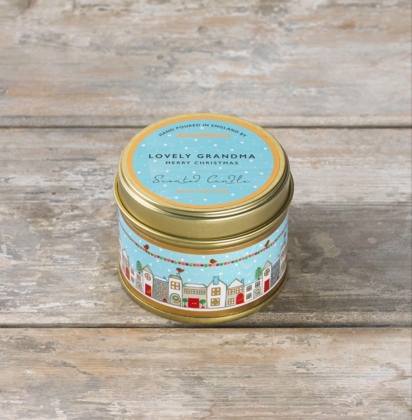 Janie wilson lovely Grandma merry Christmas small fragranced wintertime tinned candle