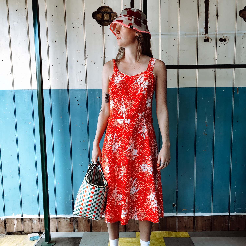Vintage- Printed cotton sun dress