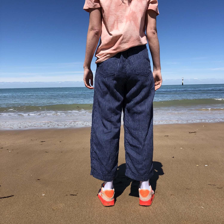 Kings of Indigo- Leila linen pinstripe trousers