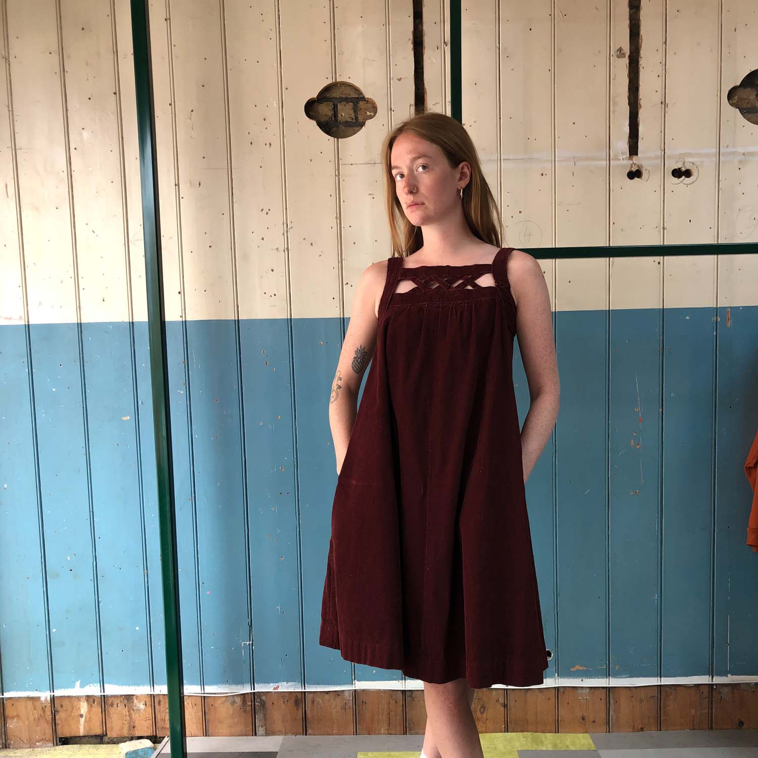 Vintage- Red corduroy dress