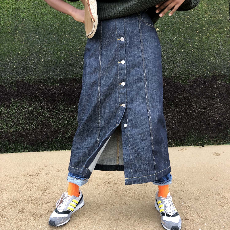 Kings of Indigo Atsuko dry denim skirt- ON SALE