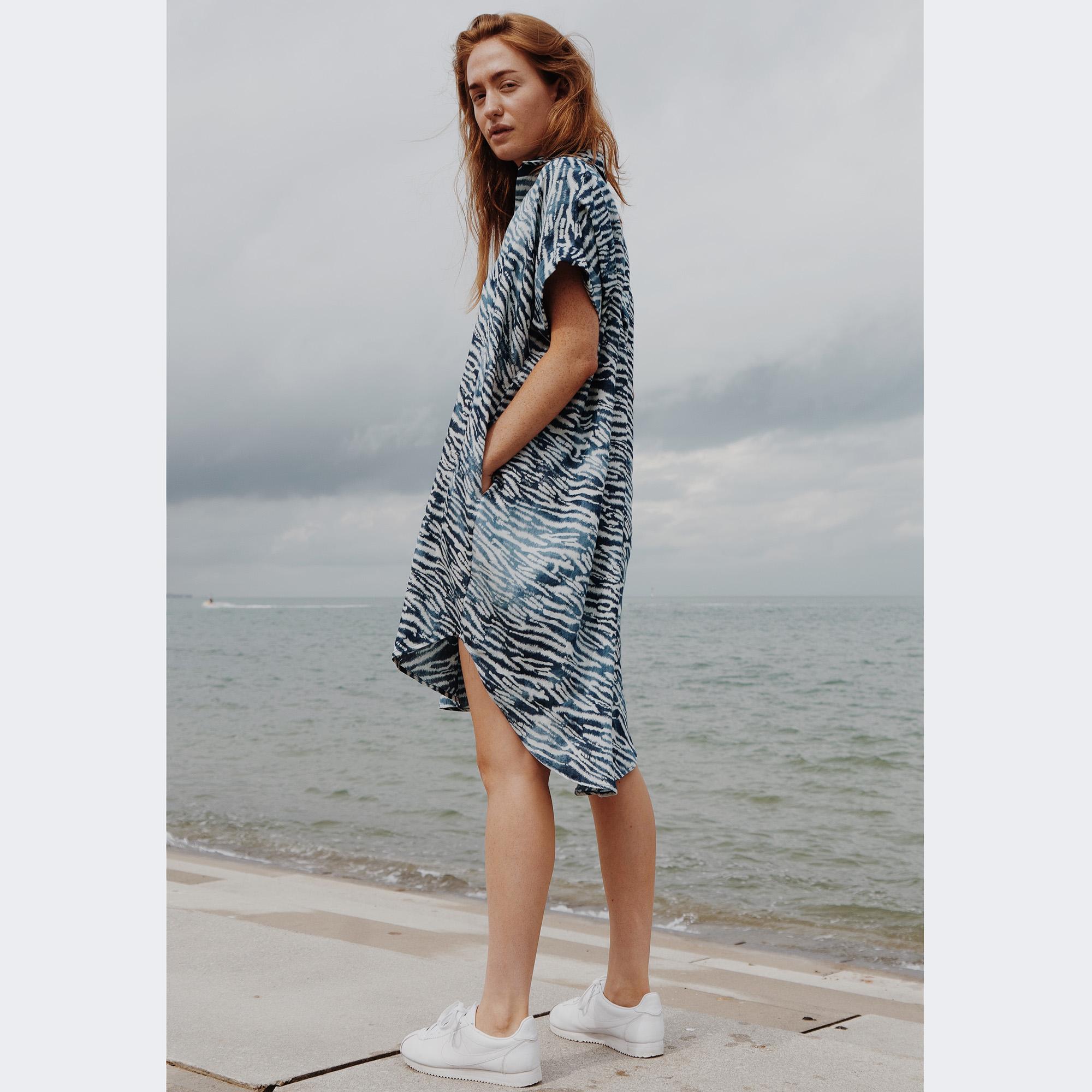 WerkHaus Margate- Green & Blue fine stripe Shirt-dress