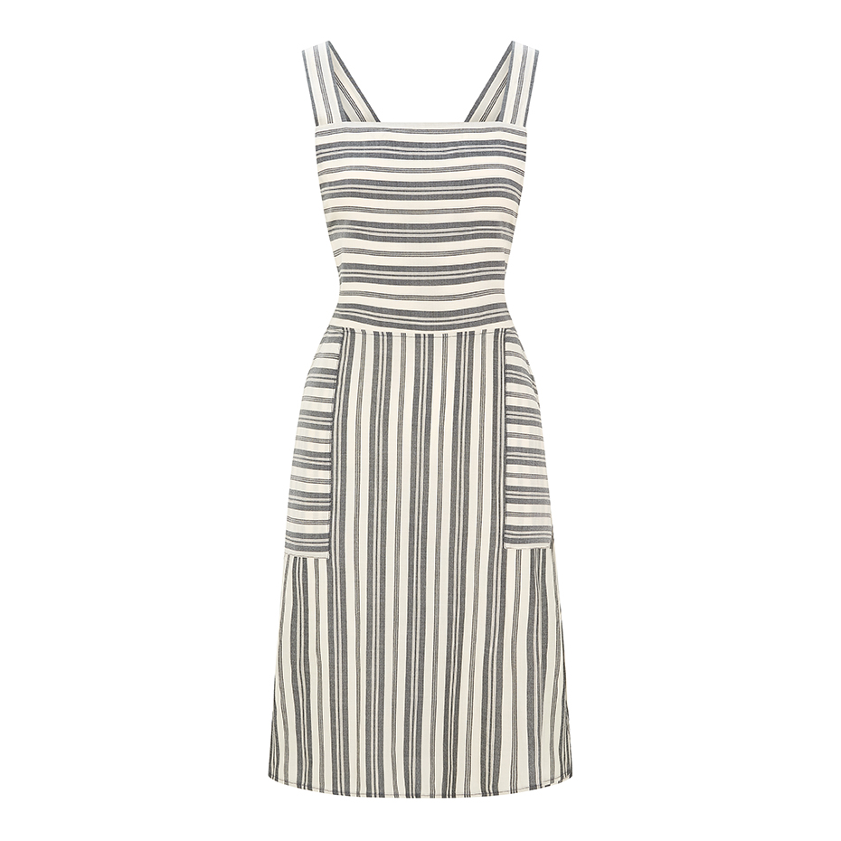 WerkHaus Margate- Cream & Grey apron dress