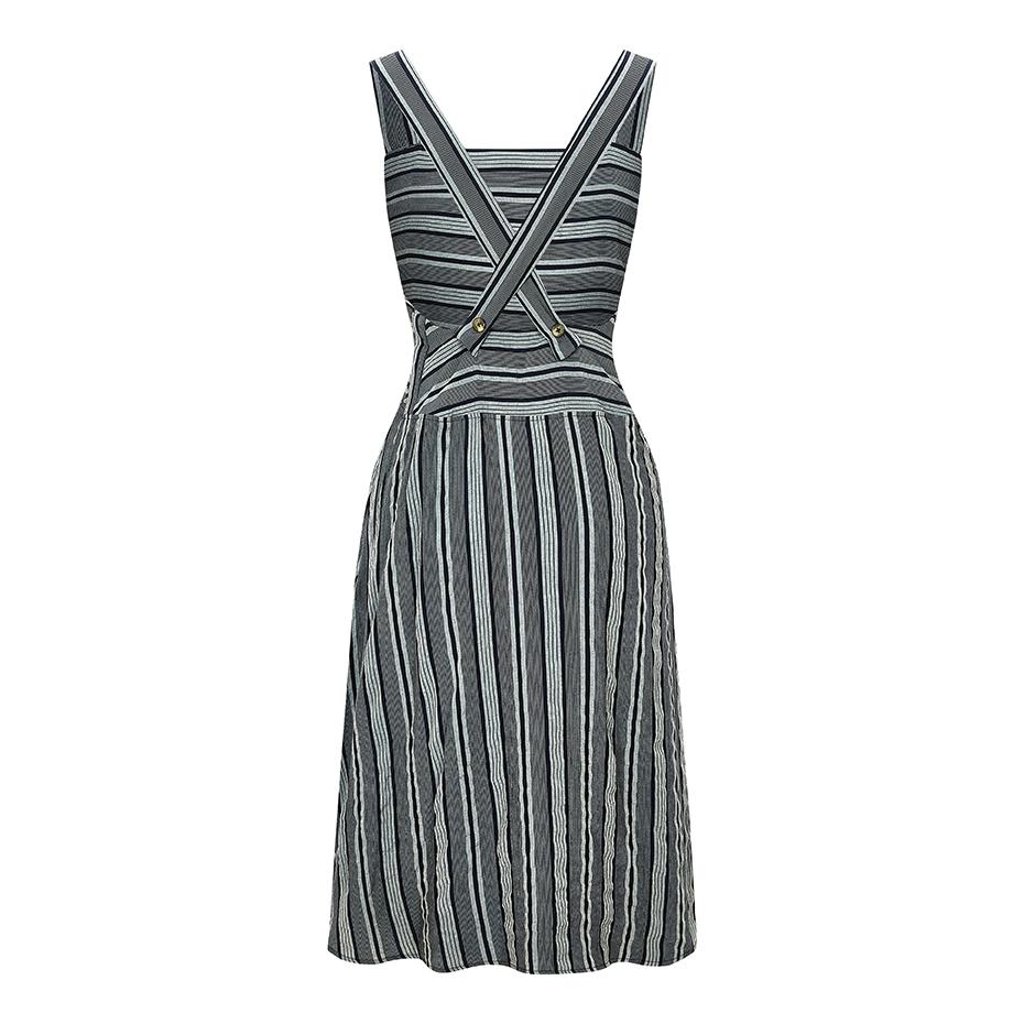 WerkHaus Margate- Cream & Grey apron dress